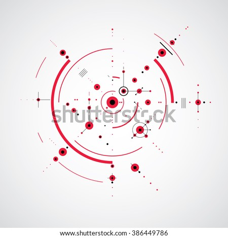 Bauhaus retro wallpaper, art vector red background made using grid and circles. Geometric graphic 1960s illustration can be used as booklet cover design. Technological pattern. - stock vector