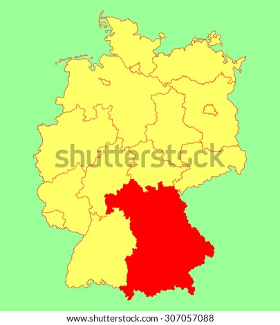bavaria state map germany vector map silhouette illustration isolated on germany map editable