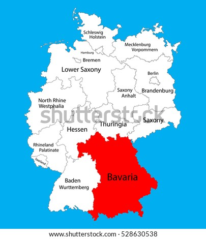 Bavaria State Map Germany Vector Map Stock Vector 528630538