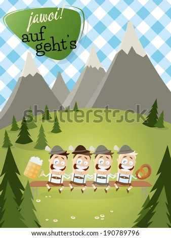 bavarian background with traditional people and text that means yes let's go. - stock vector