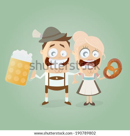 bavarian couple with beer and pretzel - stock vector