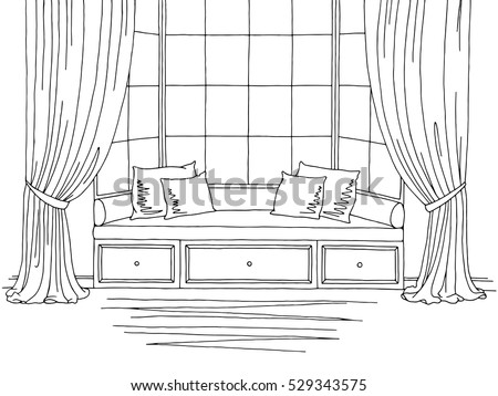 Bay window graphic black white interior stock vector for Bay window construction details