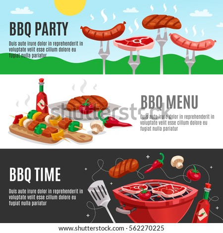 Bbq Banners Set Summer Outdoor Background Stock Vector 562270225