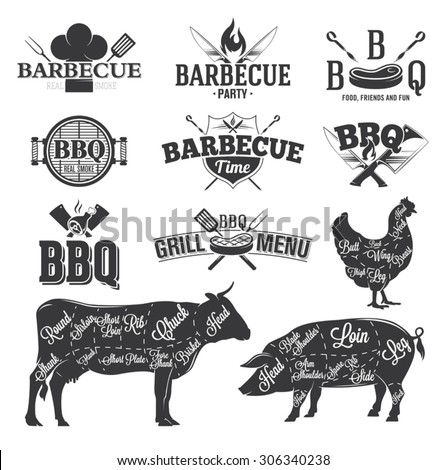 bbq emblems logos stock vector 306340238