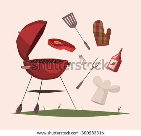BBQ equipment. Vector illustration. - stock vector