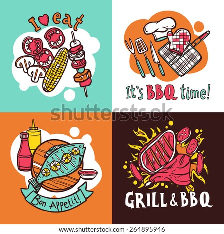 Bbq grill design concept set with meat and fish barbeque sketch icons isolated vector illustration - stock vector