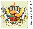 BBQ Grill logo design - Barbecue Collection Vector Illustration with sample text - stock photo