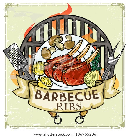 BBQ Grill logo design - Barbecue Collection Vector Illustration with ...