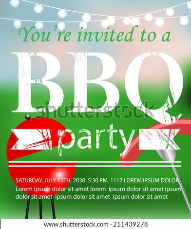 Bbq grill party invitation template vector stock vector 211439278 bbq grill party invitation template vector illustration stopboris Choice Image