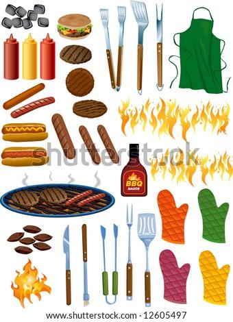 BBQ Items Vector Illustration - stock vector
