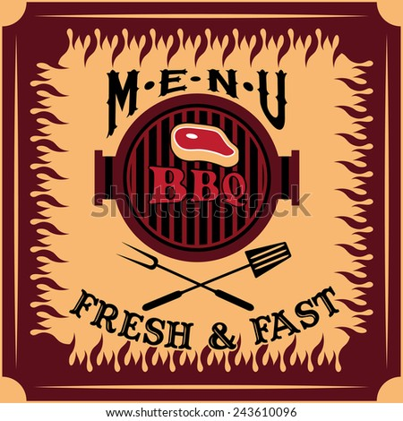 bbq menu card vector design template - stock vector