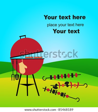 bbq on green meadow - stock vector