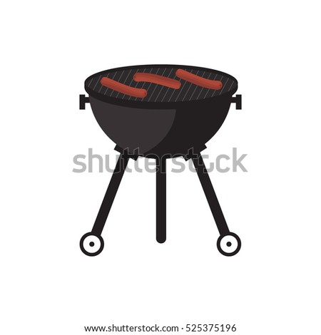 BBQ party banner grill with fire isolated on white.