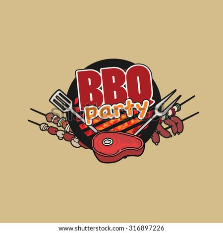 BBQ party, barbecue, symbol, icon, with various objects and foods, vector illustration