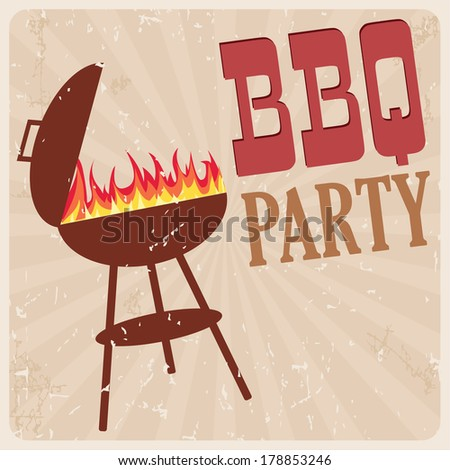 BBQ party card, vector illustration - stock vector