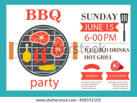 Bbq Party Invitation Barbecue Invitation Flyer Stock Vector