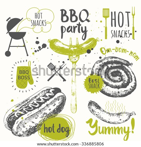 BBQ party. Vector illustration of festive traditional American food.Funny labels of weekend party: sausages and hot dogs. Barbecue. - stock vector