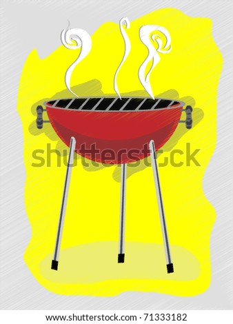 BBQ scribble sketchy retro ad style vector illustration - stock vector