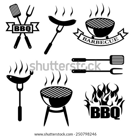 BBQ, set icons, logos,badges, labels  - stock vector