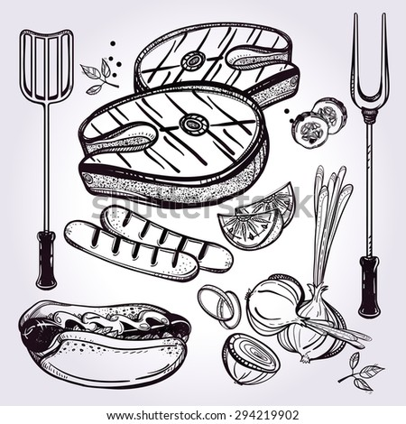 BBQ Set. Poster vintage linear style. Isolated vector illustration. Hand drawn elements. Fish Steak, Sausages, Vegetable, Hot-dog, Utensils. Menu template for restaurant, bar, pub.