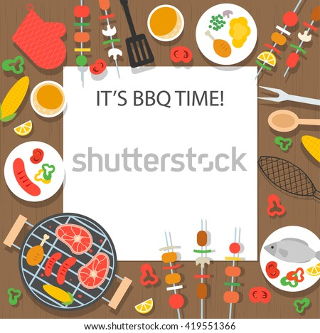 BBQ time background with grill top view, kebabs, beer etc.  - stock vector
