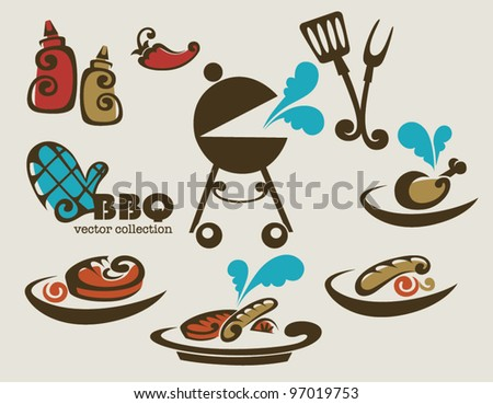 BBQ vector collection of symbols - stock vector