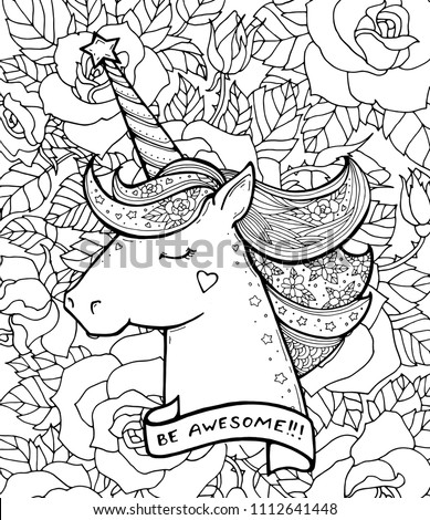 Be Awesome Unicorn And Flowers Magical Animal Vector Artwork Black White