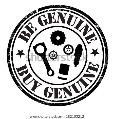 Be genuine buy genuine grunge rubber stamp on white, vector illustration - stock vector