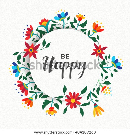 Be Happy Quote Poster Design Positive Stock Vector