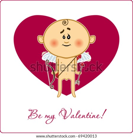 Be my valentine card with cupid.  Vector - stock vector