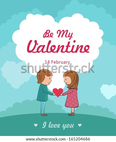 be my valentine concept with cute couple in love. Vector illustration - stock vector