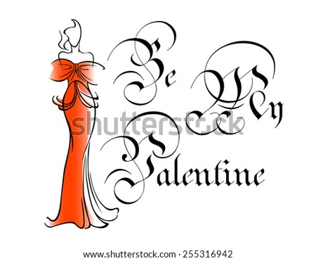 Be my valentine greeting card with vintage intricate text and silhouette of woman in elegant long red dress in outline sketch style - stock vector