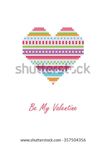 Be My Valentine. Heart. Greeting card. Vector illustration. - stock vector