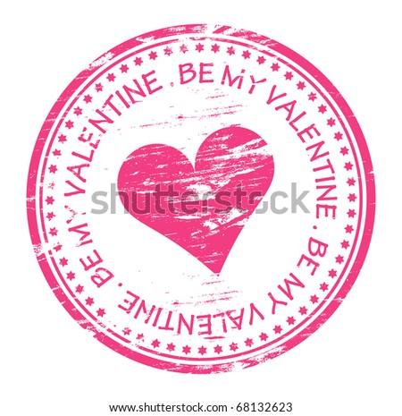 be my valentine rubber stamp - stock vector