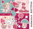 be my valentine scrapbook set - stock vector