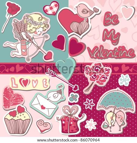 be my valentine scrapbook set - stock vector