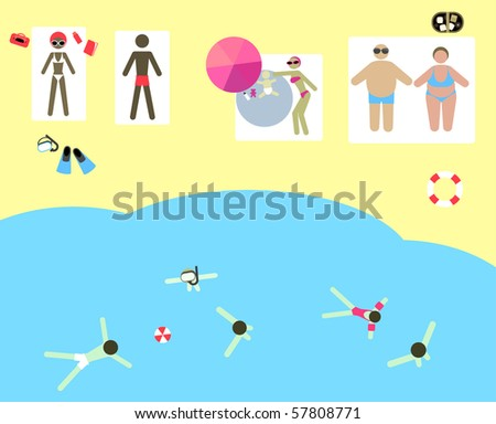 beach - stock vector
