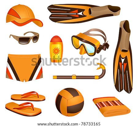 Beach accessories for man - stock vector
