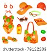 Beach accessories for woman - stock vector