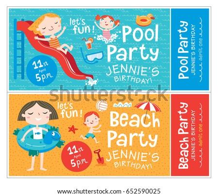 Beach pool party birthday invitations beach stock vector 652590025 beach and pool party birthday invitations beach and pool party vector isolated illustrations filmwisefo