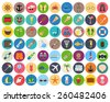 beach and summer rest colorful icon set on rounded pads. Traveling, tourism, vacation theme. - stock vector