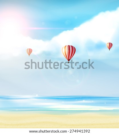 Beach and tropical sea with bright sun and hot air balloon on blue sky. Photorealistic Vector (not Traced) - stock vector