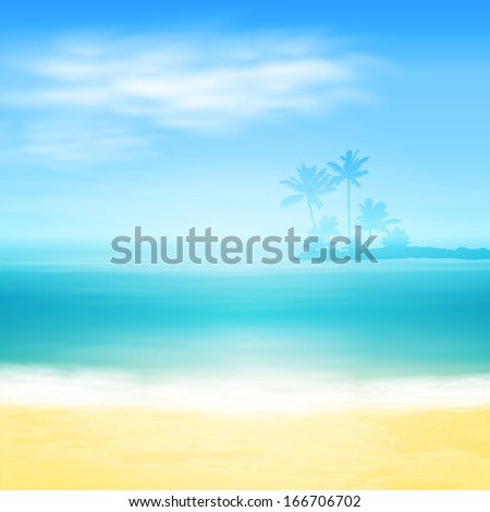 Beach and tropical sea with island and palm trees. EPS10 vector. - stock vector