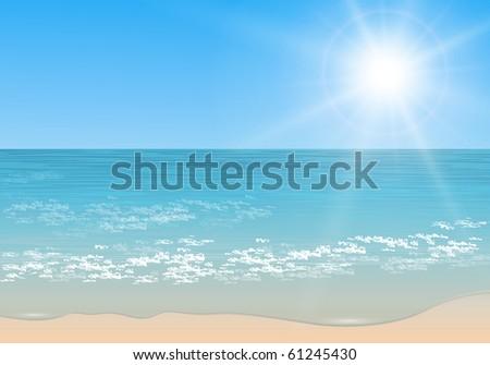Beach and tropical sea with sun, vector. - stock vector