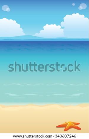 Beach Background - Sunny Days on Blue Sky Beach With Star Fish - stock vector