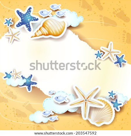 Beach background with copy space, vector eps10
