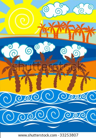 Beach background with palm trees