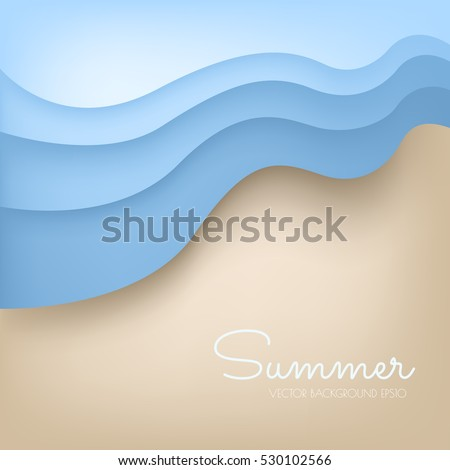 Beach background with wave from the sea vector with space for design