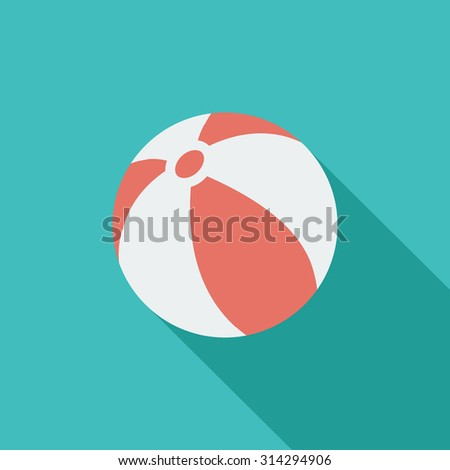 Beach ball icon. Flat vector related icon with long shadow for web and mobile applications. It can be used as - logo, pictogram, icon, infographic element. Vector Illustration.