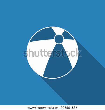beach ball icon with long shadow - stock vector